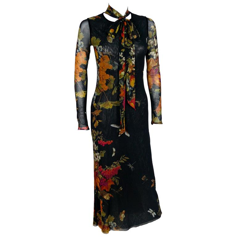 Jean Paul Gaultier Floral Print Fuzzi Mesh Dress M