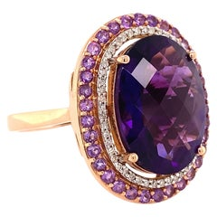 Awesome Large Oval Amethyst and Diamond Cocktail Ring Estate Fine Jewelry