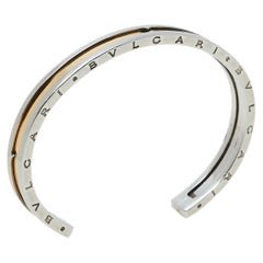 Bvlgari B.Zero1 Stainless Steel & 18k Rose Gold Open Cuff Bracelet S