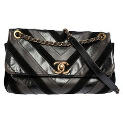 Chanel Black/Brown Leather and Suede Jumbo Surpique Flap Bag