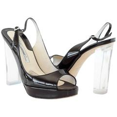 BRIAN ATWOOD shoe platform patent slingback lucite heel 37 /  7  mint box