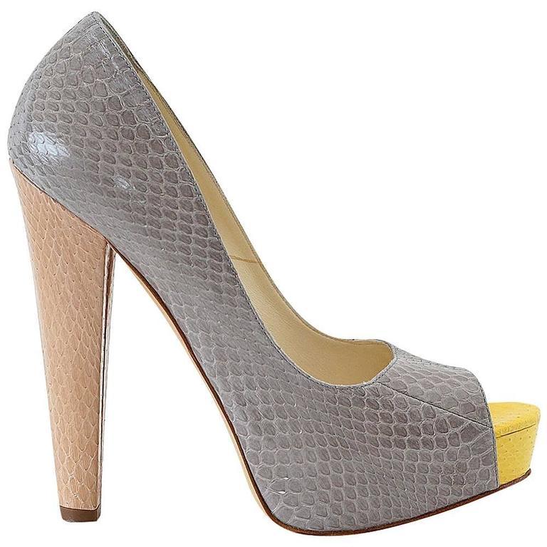 BRIAN ATWOOD shoe 3 toned snake skin peep toe platform pump 37 / 7 1