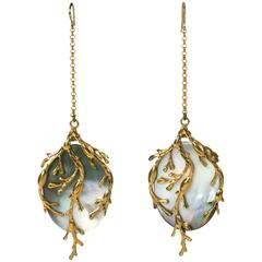 "White Mother of Pearl ""Seaweed"" Earrings, MWLC"