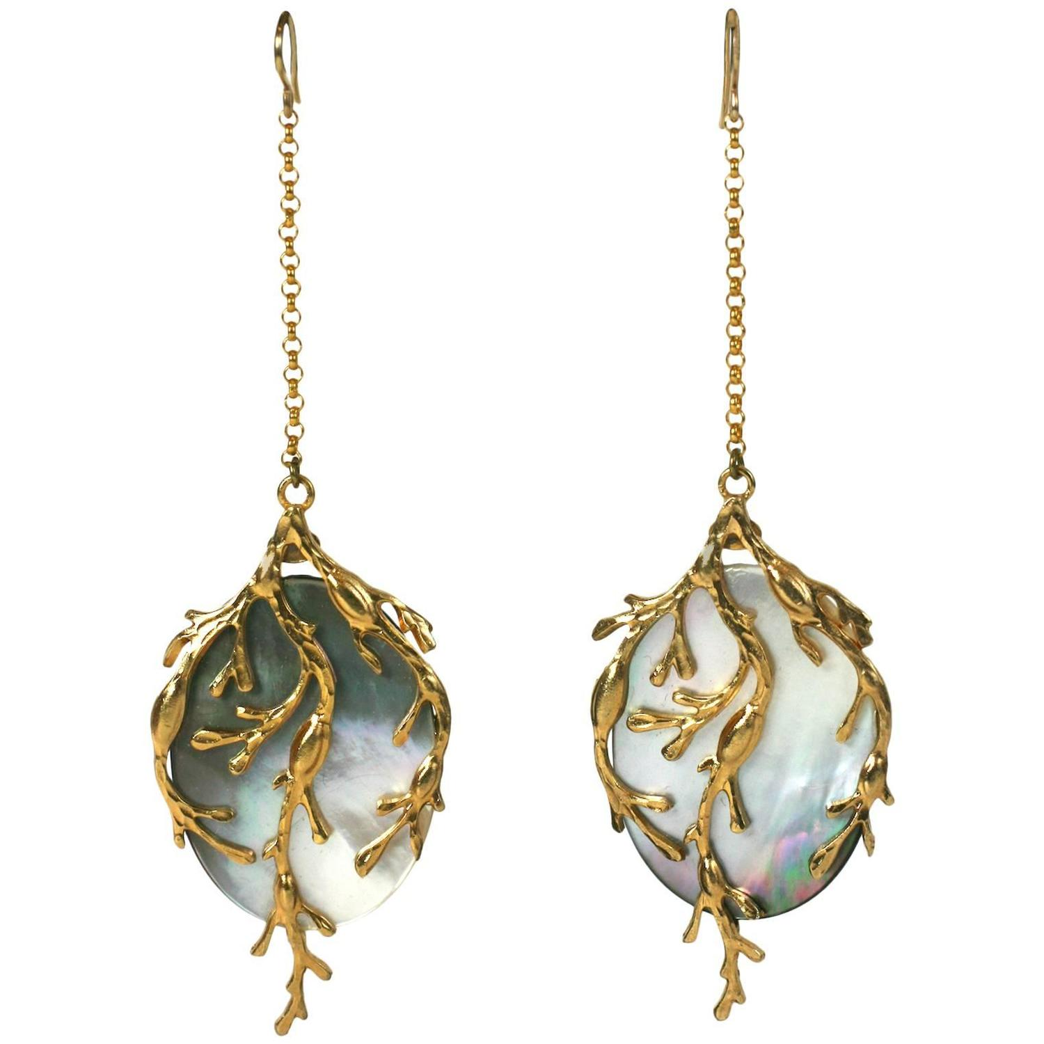 """Pearl Jewellery Necklace >> White Mother of Pearl """"Seaweed"""" Earrings, MWLC For Sale at 1stdibs"""