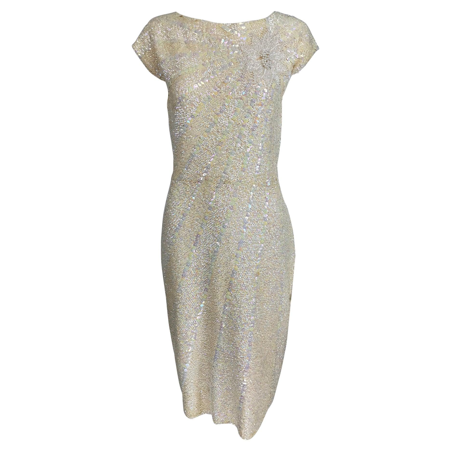 Gene Shelly's Boutique Internationale Cream Sequin Sheath Dress 1960s
