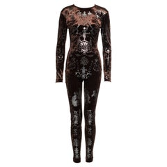 Vivienne Westwood brown velvet bodystocking with silver foil print, fw 1990