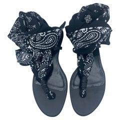 Saint Laurent Black Flat Sandals, Size 40