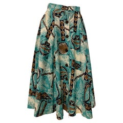 1940s Rare Alfred Shaheen Cotton Tropical Print Coconut Button Front Skirt