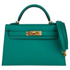 Hermes Kelly 20 Mini Sellier Bag Jade Epsom Leather Gold Hardware New w/Box