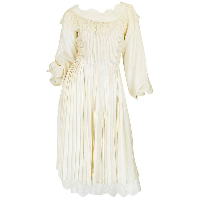1960s Andre Laug Couture Pleated Cream Silk Dress 1