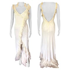 Versace S/S 2004 Plunging Open Back Ruffled Ivory Maxi Evening Dress Gown