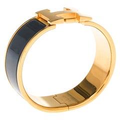Hermes Clic Clac H Grey Enamel Gold Plated Wide Bracelet PM