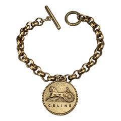 Vintage CELINE PARIS Horse Carriage Medallion Chain Bracelet