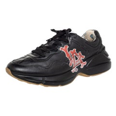 Gucci Black Leather Rhyton LA Angels Prints Low Top Sneakers Size 43