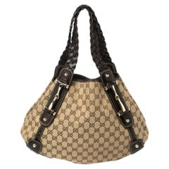 Gucci Brown/Beige GG Canvas and Leather Small Horsebit Pelham Shoulder Bag