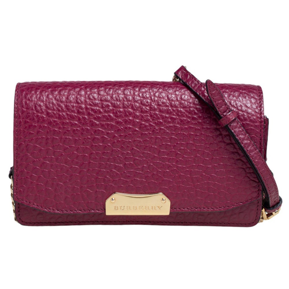 Burberry Burgundy Leather Madison Wallet on Chain