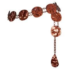 Vintage YVES SAINT LAURENT Ysl Wrinkled Copper Disc Link Belt