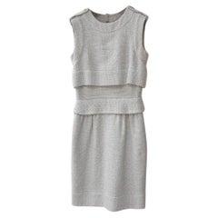 Chanel Grey Sleeveless Tweed Dress