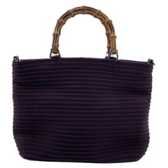 Gucci Vintage Dark Brown Pintucked Canvas Bamboo Handbag Tote