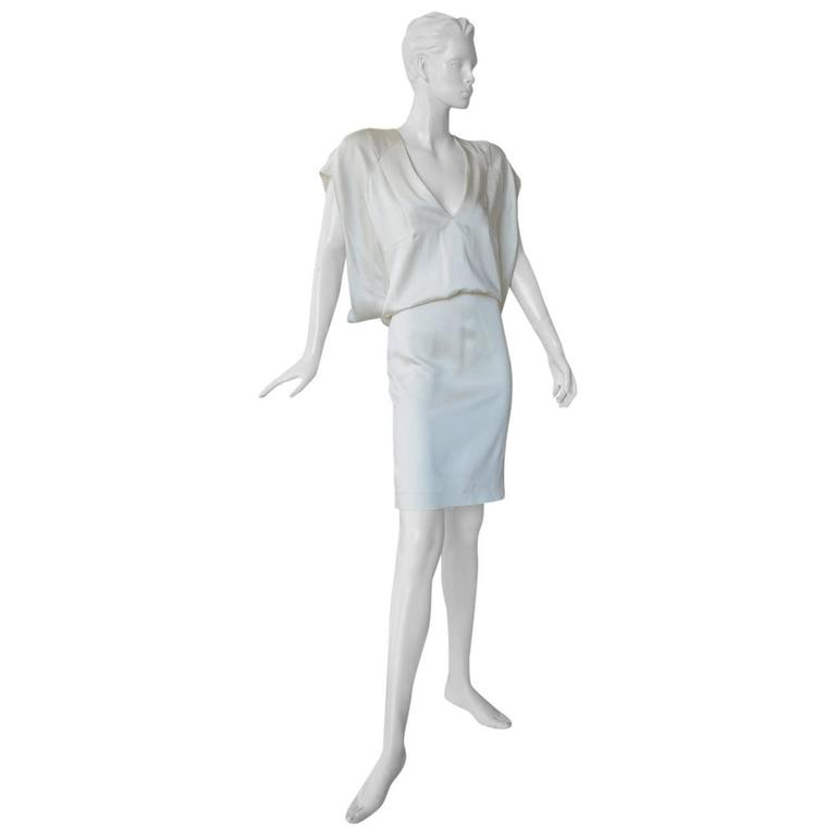 Tom Ford Winter White Plunging Neckline Evening Dress For Sale
