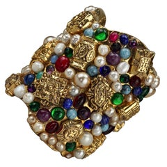 Vintage French Opulent Jewelled Cabochon Pearls Wide Cuff Bracelet
