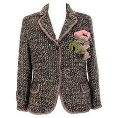 Moschino Brown Blue Beige Wool Mohair Boucle Jacket
