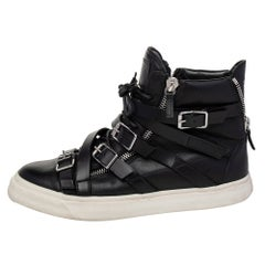 Giuseppe Zanotti Black Leather Buckle Detail High Top Sneakers Size 44