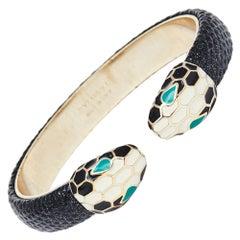 Bvlgari Serpenti Forever Enamel & Metallic Leather Plated Open Cuff Bracelet