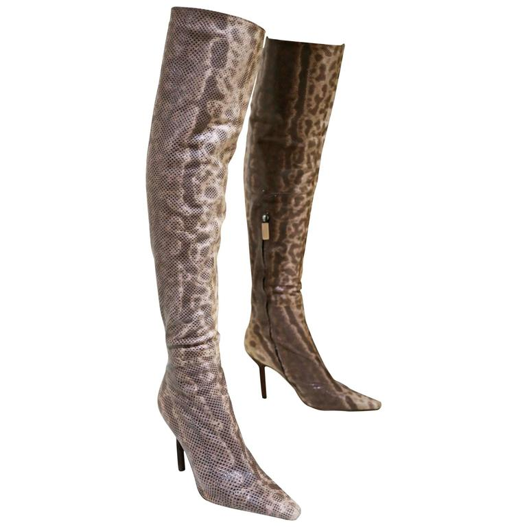 Gucci by Tom Ford over the knee skin tight lizard boots, c. 1999
