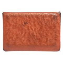 Hermès Orange Epsom Leather Calvi Card Holder