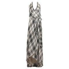 Haute Hippie Wrap Effect Plaid Silk Halterneck Maxi Dress