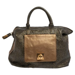 Chloe Black/Gold Textured Leather Side Zipped Satchel