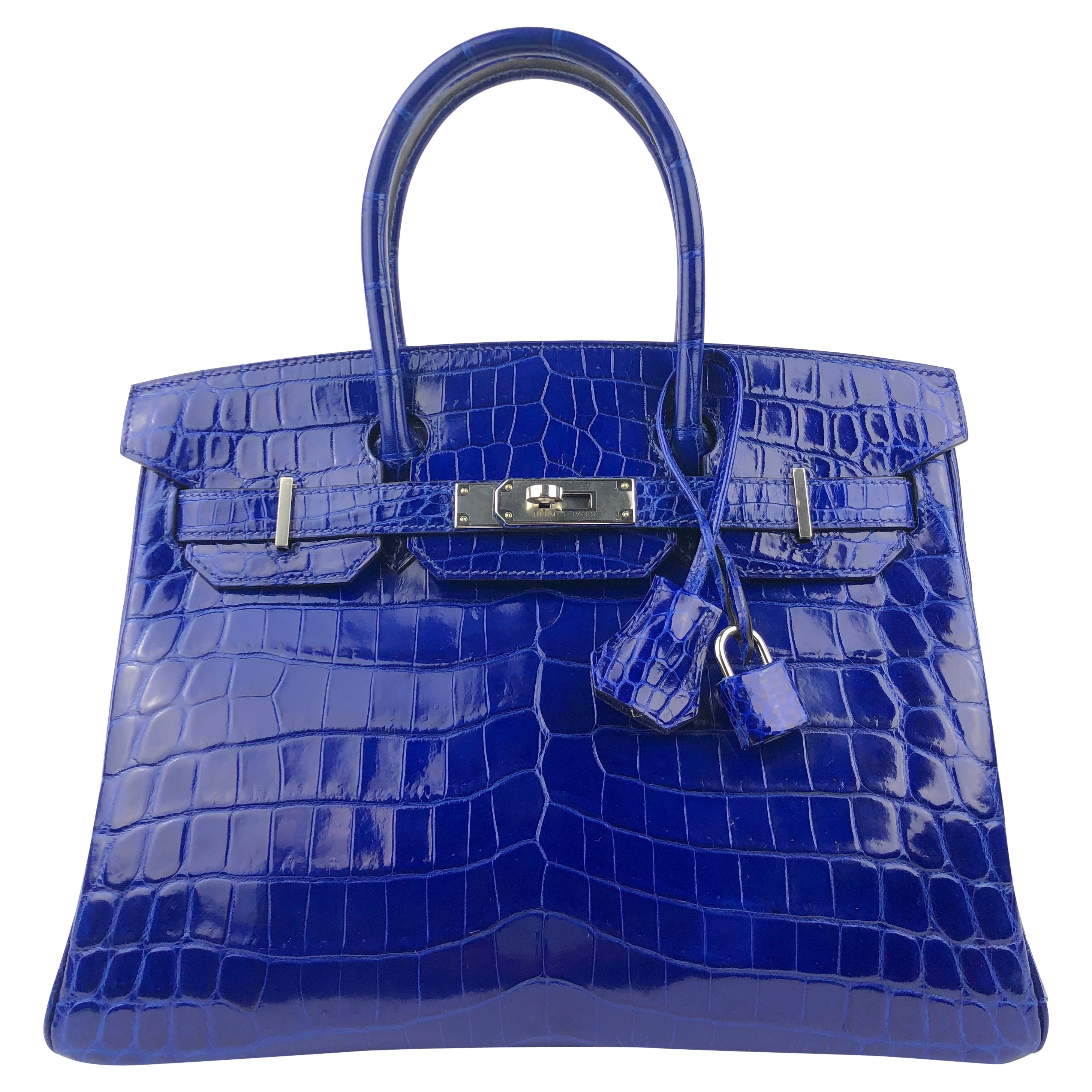 Hermes Birkin 30 Blue Electric Crocodile Palladium Hardware