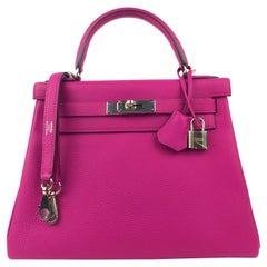 Hermes Kelly 28 Rose Pourpre Pink Purple Togo Leather Palladium Hardware