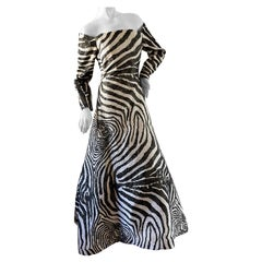 Scaasi Saks Fifth Ave Vintage Off the Shoulder Zebra Pattern Brocade Ball Gown