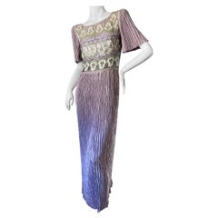 Mary McFadden Couture Vintage 1980's Purple Pleated Beaded Evening Dress