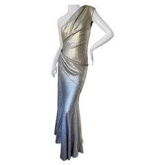 Donna Karan Vintage Matte Silver Sequin One Shoulder Evening Dress