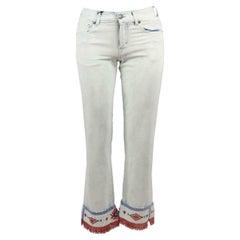 Alanui Fringed Bead Embellished Straight Leg Jeans
