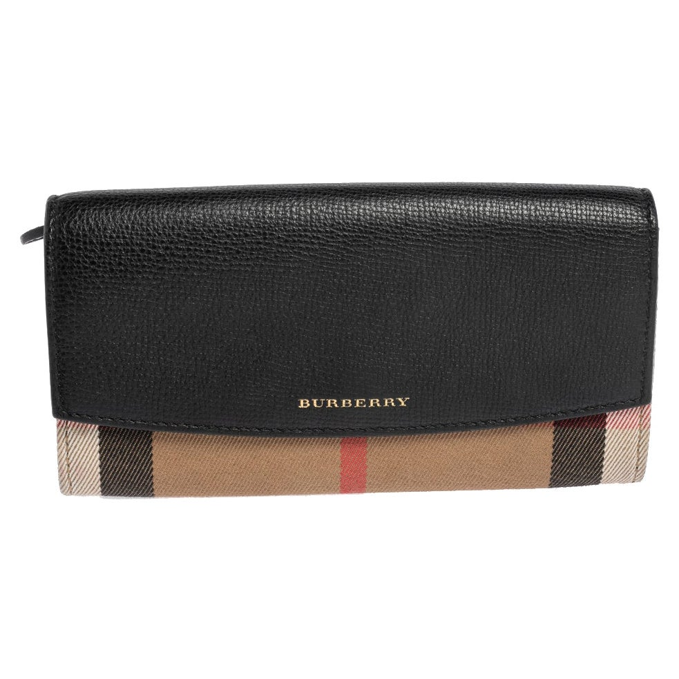 Burberry Black/Beige House Check Canvas and Leather Flap Continental Wallet