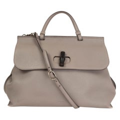 GUCCI grey leather DAILY BAMBOO TOP HANDLE Shoulder Bag