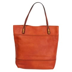 GUCCI brick red leather BAMBOO DETAILED Tote Bag
