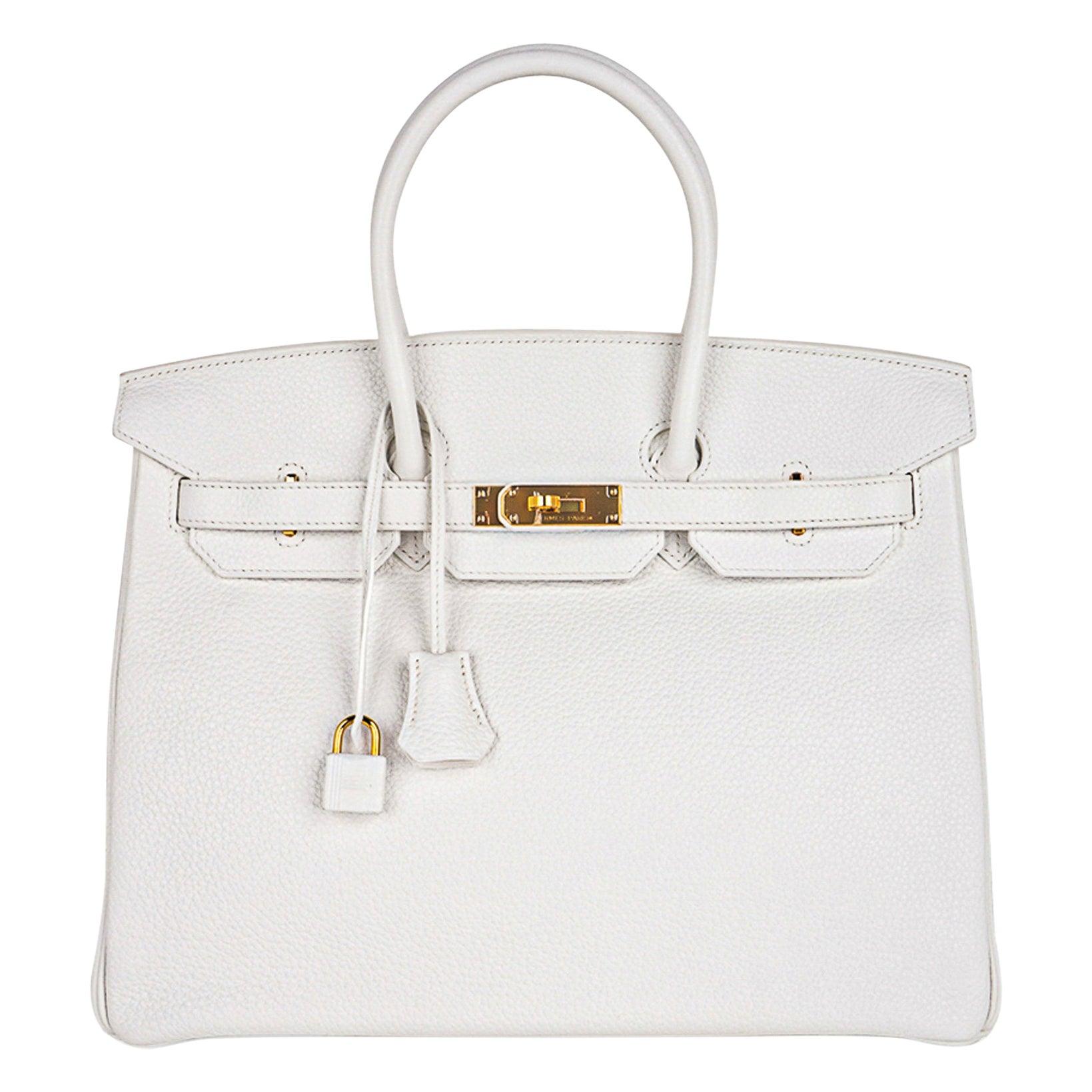 Hermes Birkin 35 Bag White Clemence Gold Hardware