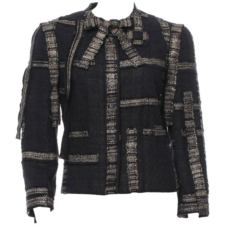 Chanel Black and Gold Sash Bow Tie Neck Tweed Blazer ...