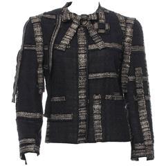 Chanel Black and Gold Sash Bow Tie Neck Tweed Blazer Jacket