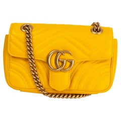 GUCCI yellow leather MARMONT MINI Shoulder Bag