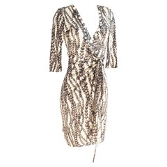 Gray Pearl Strand on Vanilla silk jersey Wrap Dress - NWT Flora Kung