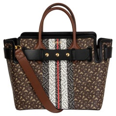 BURBERRY brown MONOGRAM STRIPE E-CANVAS SMALL BELTED TOTE Bag