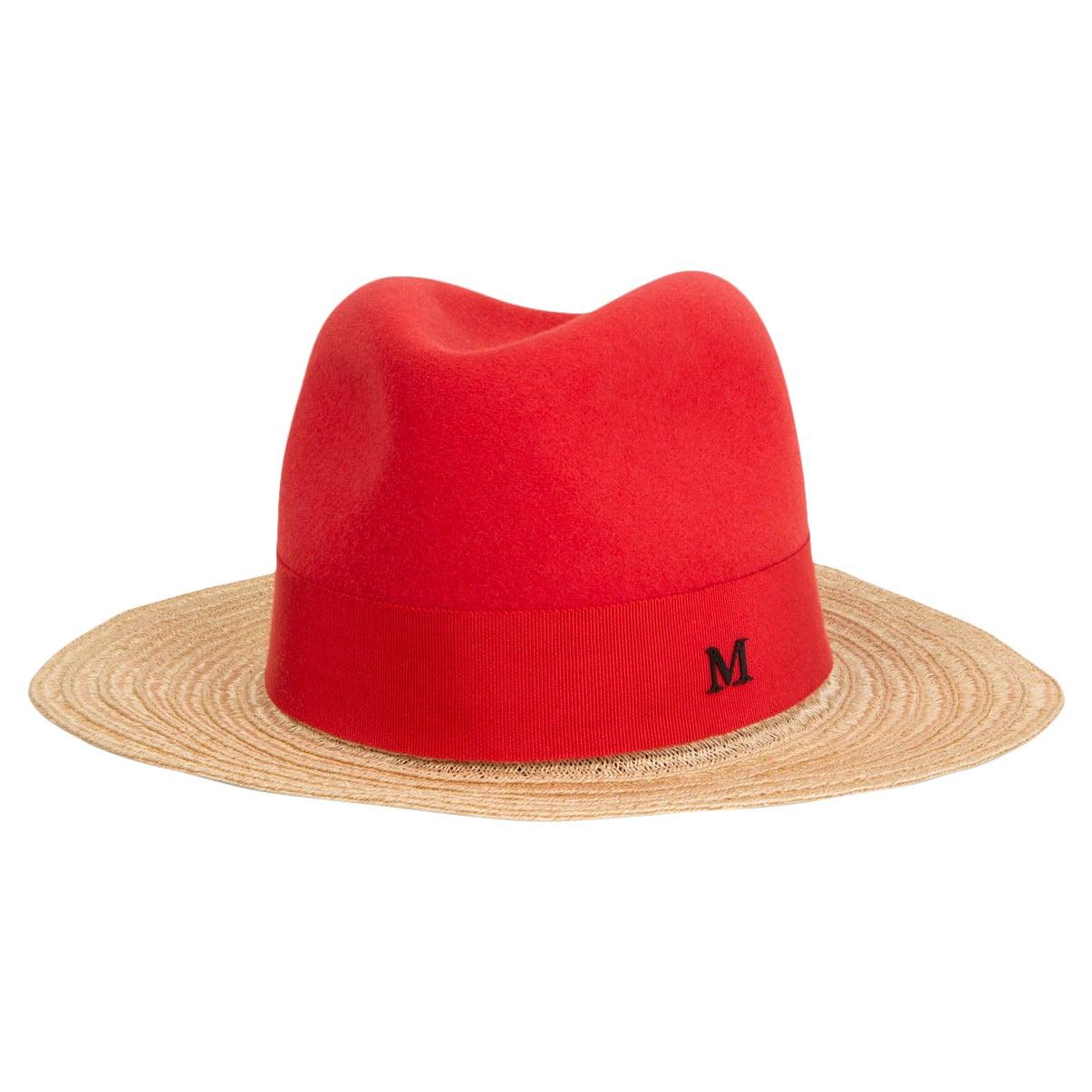 MAISON MICHEL red Felt & Straw Fedora Hat S