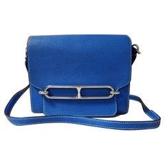 Hermès Roulis Blue Leather Shoulder Bag