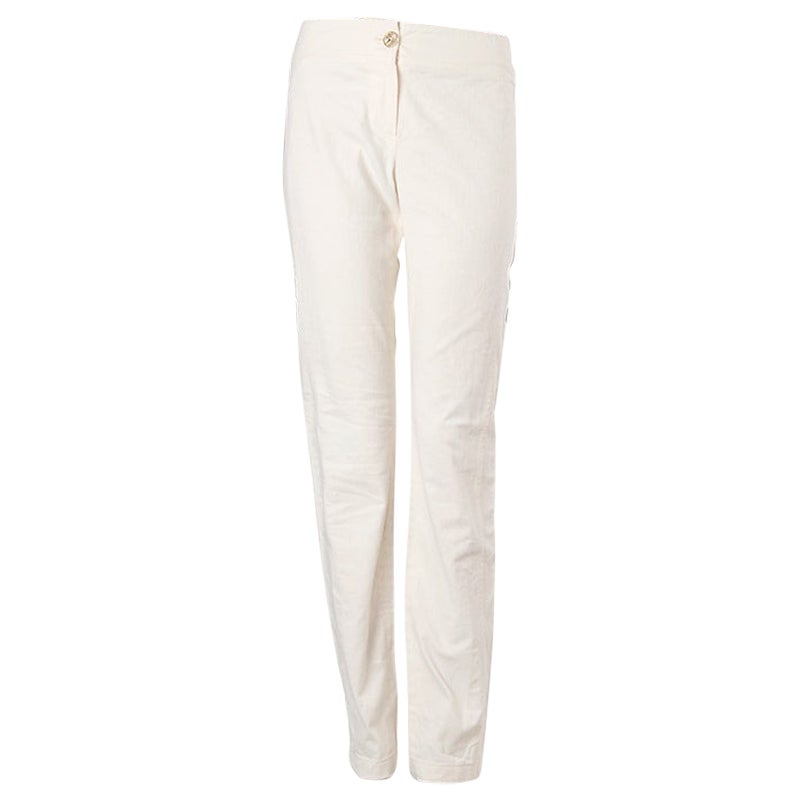 CHANEL off-white cotton Classic Pants 38 S